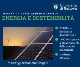Master universitario di II livello Energia e Sostenibilità