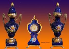Set di 3 Ceramiche con Orologio risalente agli anni 70 del secolo scorso