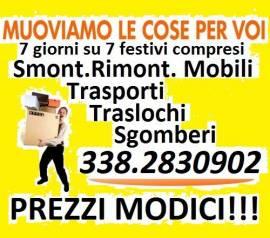 TRASLOCHI ROMA TRASPORTI SGOMBERI SMALTIMENTI OVUNQUE PREZZI MODICI 7GG SU7 TEL. 338.2830902
