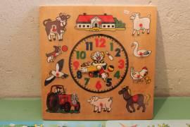 Lotto 3 giochi Legno orologio e Puzzle Forma Animale Bambini Gioco Educativo