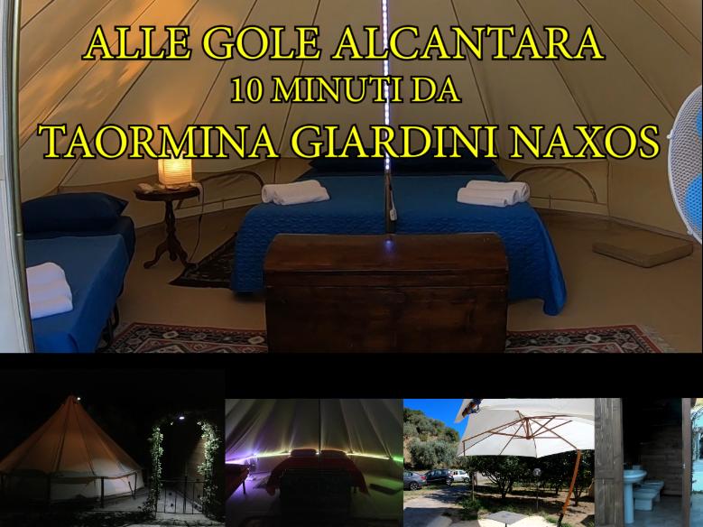 Sicilia,Glamping e Appartamenti, mini campeggio privato Gole Alcantara Giardini Naxos Taormina