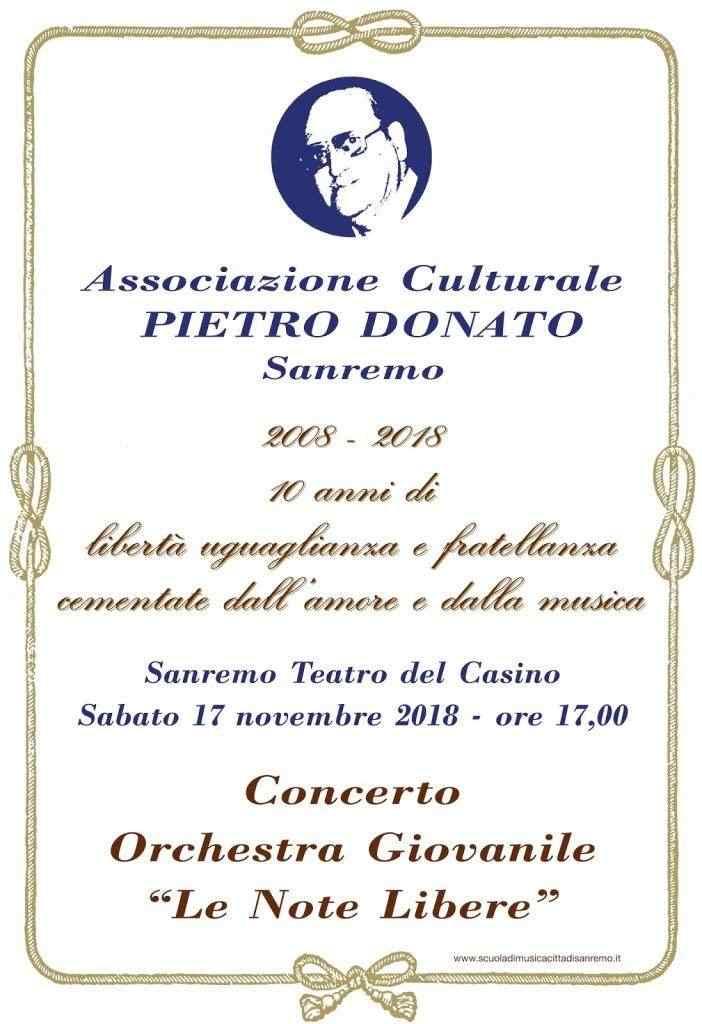 10° Anniversario Associazione  Pietro Donato di Sanremo Concerto 17 Novembre Orchestra Note Libere
