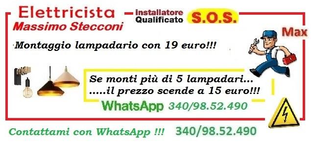 LAMPADARIO E PLAFONIERA INSTALLAZIONE A ROMA CON 19 EURO