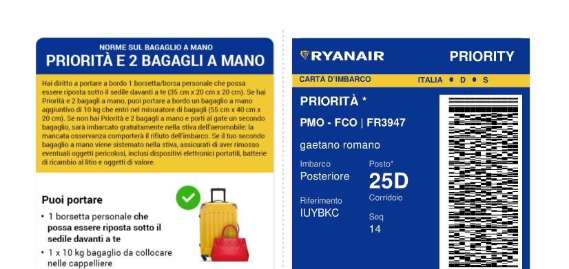 Biglietto Aereo giorno 19 ottobre 2018 volo Palermo Roma