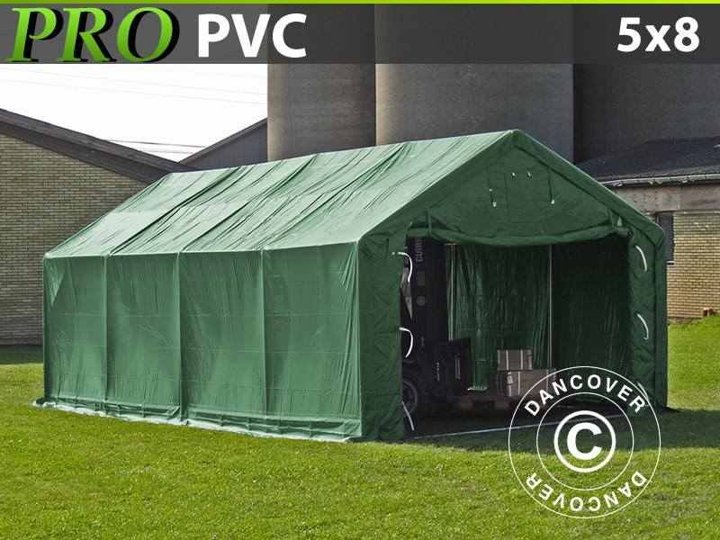 Capannone tenda PRO 5x8x2x2,9m, PVC, Verde