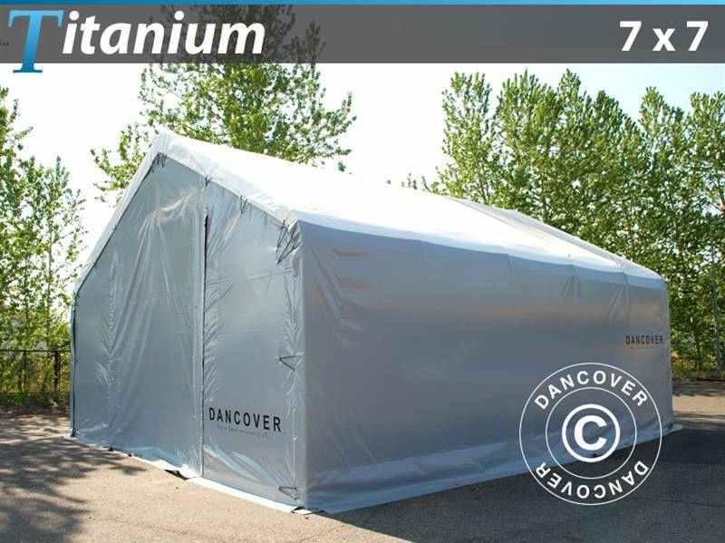 Capannone tenda Titanium 7x7x2,5x4,2m, Bianco/Grigio