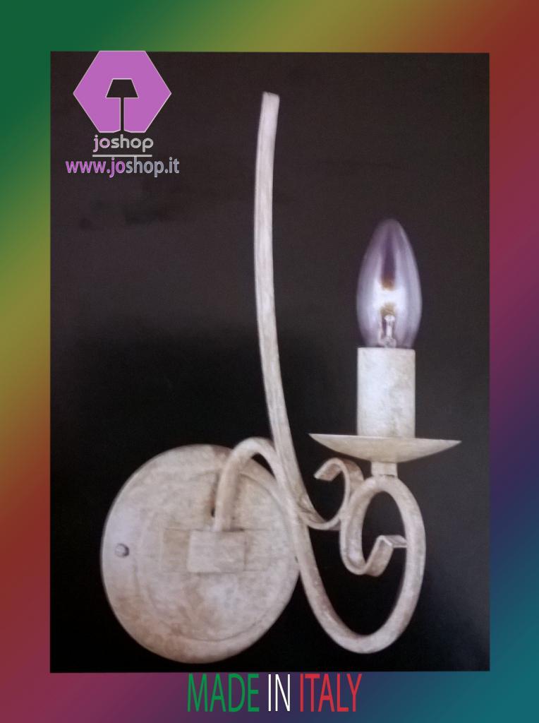 joshop applique classico 1 luce  ferro battuto bianco camelot nuovo shabby