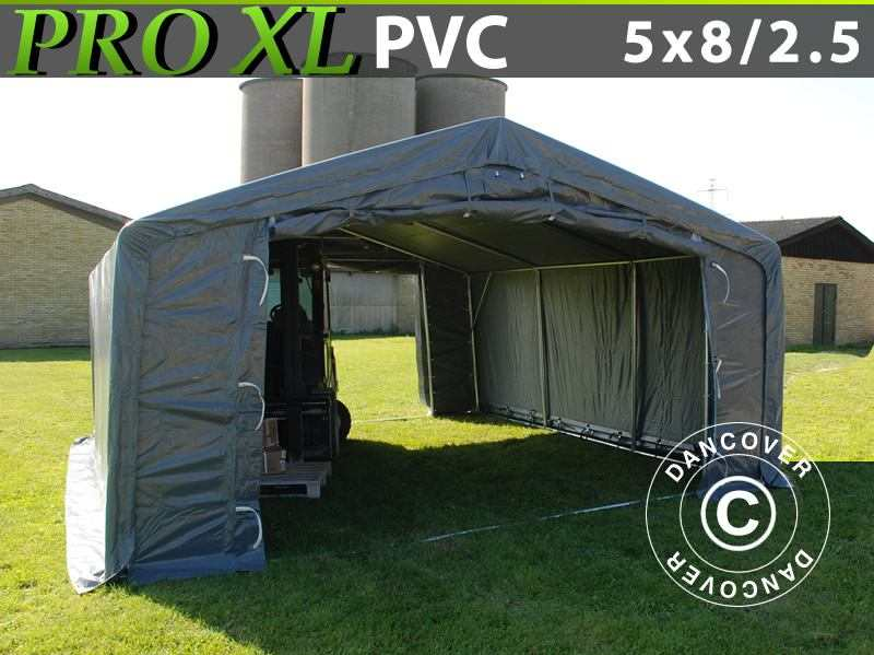Capannone tenda PRO 5x8x2,5x3,3m, PVC, Grigio