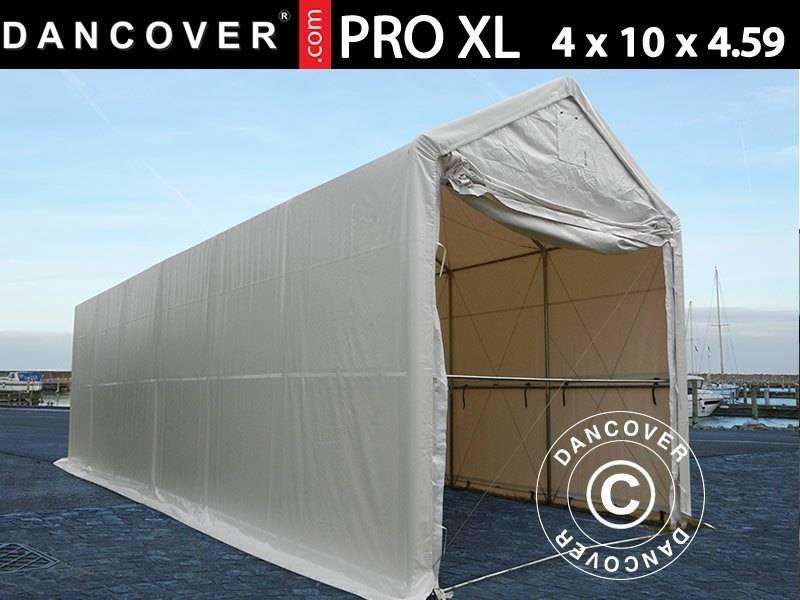 Capannone tenda PRO XL 4x10x3,5x4,59m, PVC, Bianco