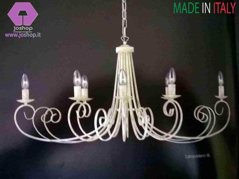 joshop lampadario 8 luci classico ferro battuto bianco nuovo shabby