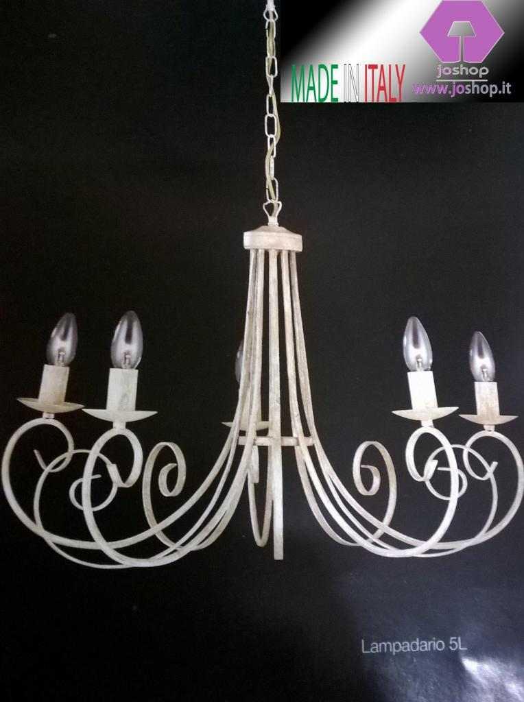joshop lampadario 5 luci ferro battuto bianco  camelot nuovo classico shabby