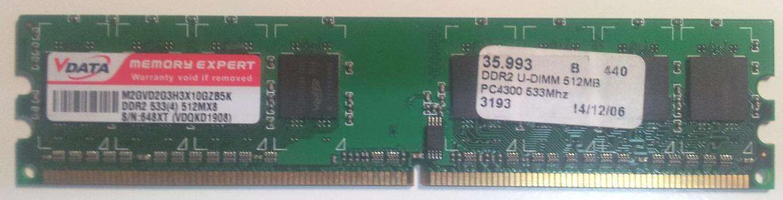 RAM V-DATA 1 GB (2x 512MB) 533MHz