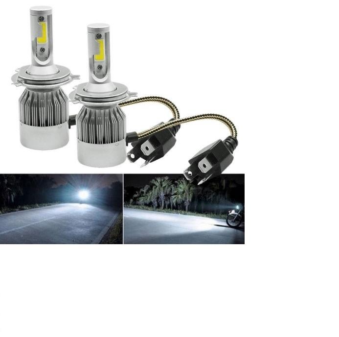 COPPIA DI LAMPADE A LED PER AUTO MOTO C6 H4 6000K FARI LUCE BIANCA LAMPADINE