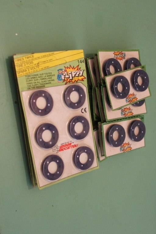 Fulminanti Edison Flippy 96 o 144 colpi pistola a tamburo giocattolo Vintage