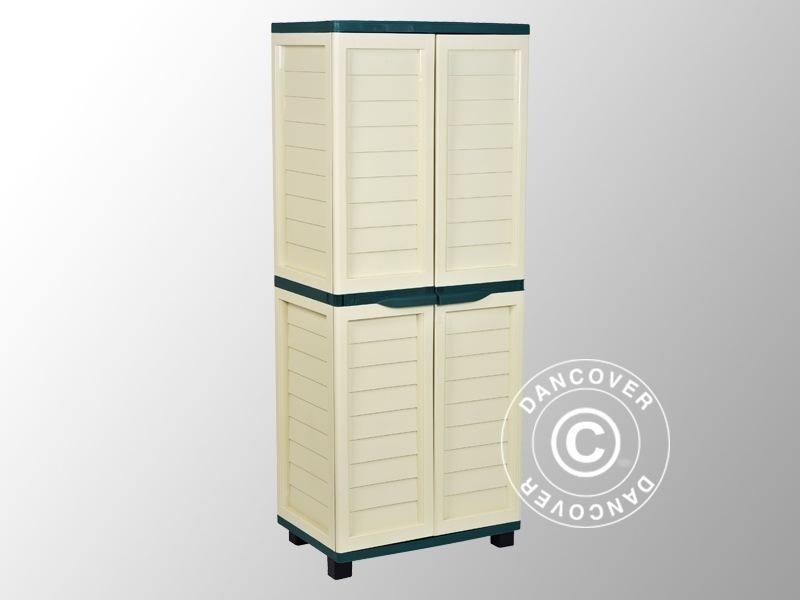 Box porta attrezzi da Giardino con Ripiani, 75x52,5x187cm, Verde/Panna