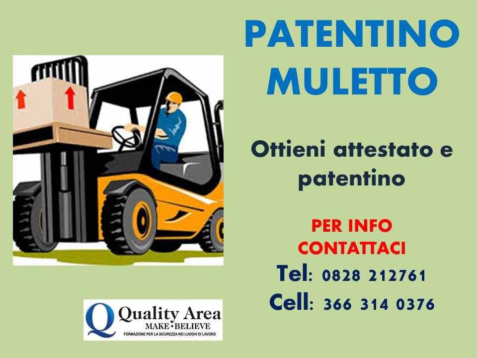 """Patentino Carrello Elevatore (MULETTO) &quotin TUTTA ITALIA"""""""