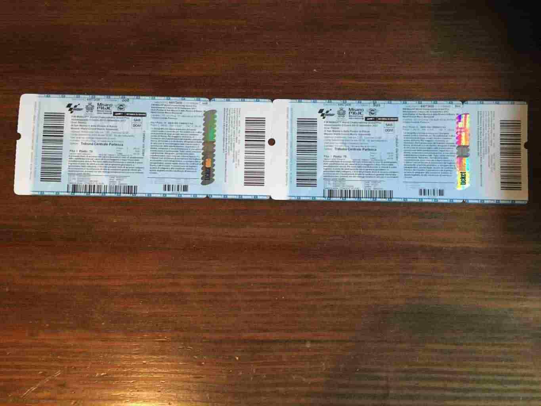 Vendo 2 biglietti in Tribuna Centrale MotoGP Misano Sabato e Domenica
