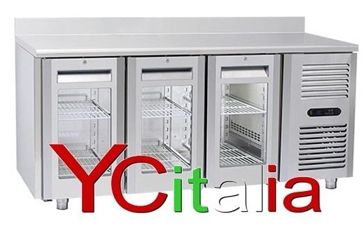 Tavolo refrigerato 3 porte a vetro e alzatina 1815x700x950 h