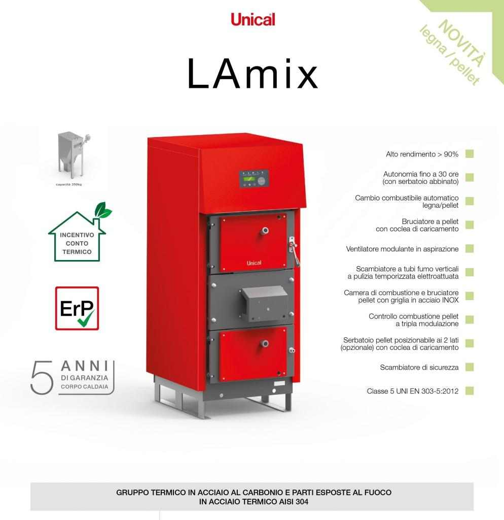 CALDAIA POLICOMBUSTIBILE Legna/ Pellet/altro granulare UNICAL LAMIX 35KW  CONTOTERMICO 2.0