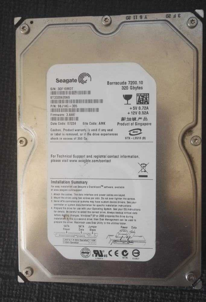 "HDD Hard Disk Seagate 320 GB 3,5"" SATA2"