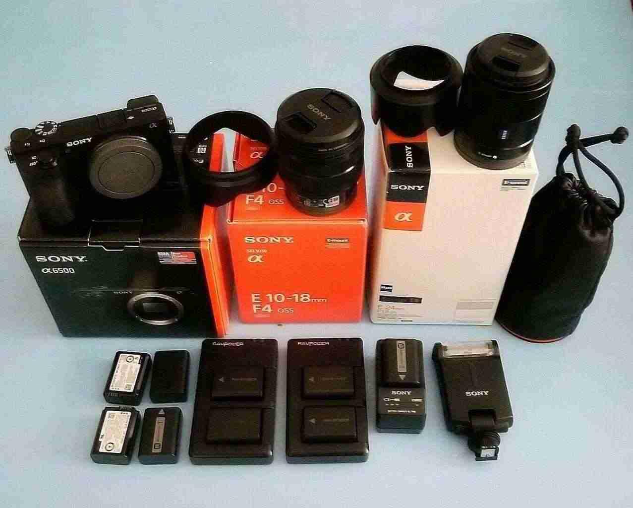 Sony A6500 2 lenti 1 flash 8 batterie