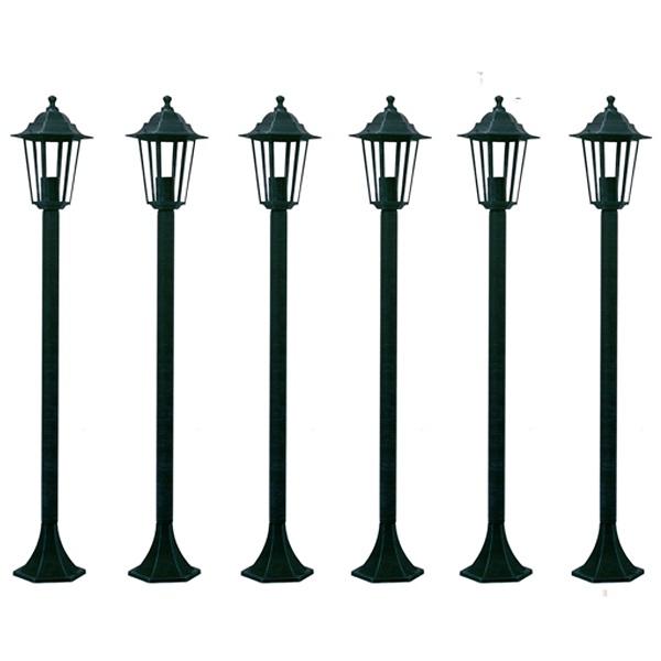Lampioni da Giardino 6 pezzi 110 cm Alluminio Verde Scuro