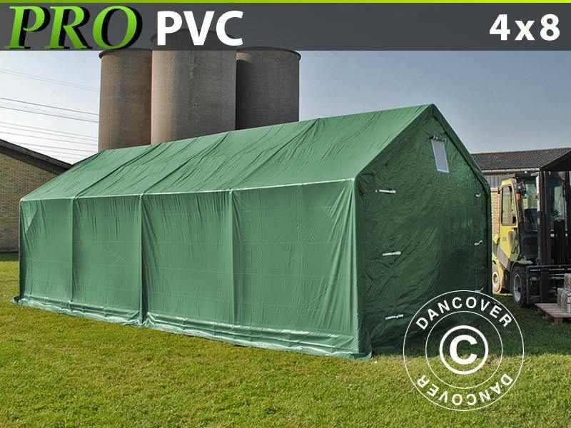 Capannone tenda PRO 4x8x2x3,1m, PVC, Verde