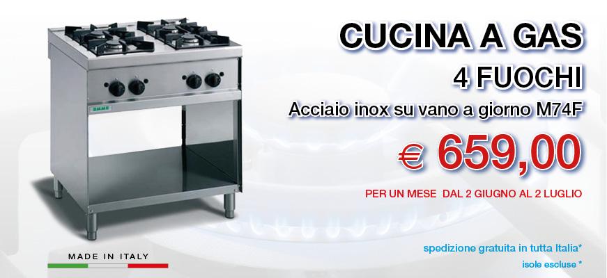 Cucina a gas professionale 4 fuochi nuova