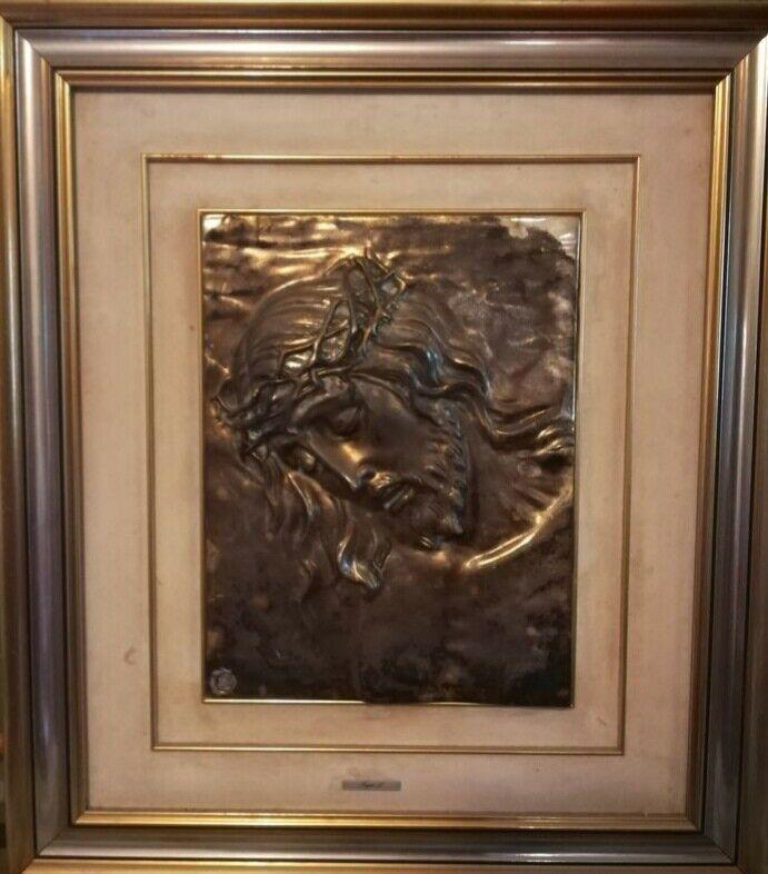 Quadro scultura volto del Cristo laminato argento 800
