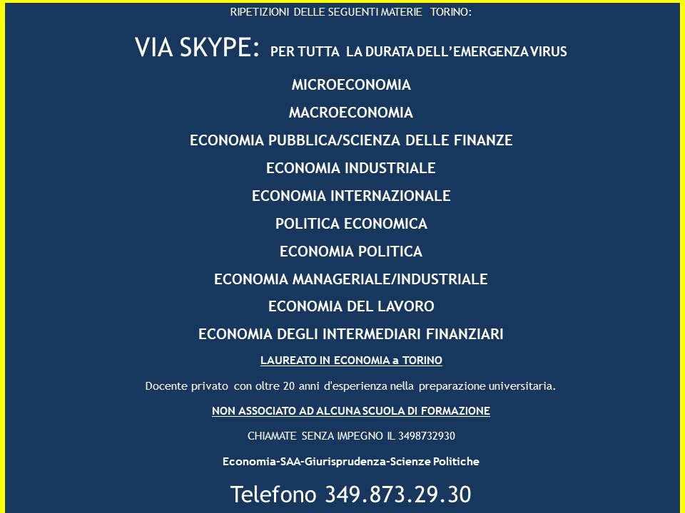 LEZIONI PRIVATE DI MATERIE ECONOMICHE A DOMICILIO/VIA SKYPE 3498732930