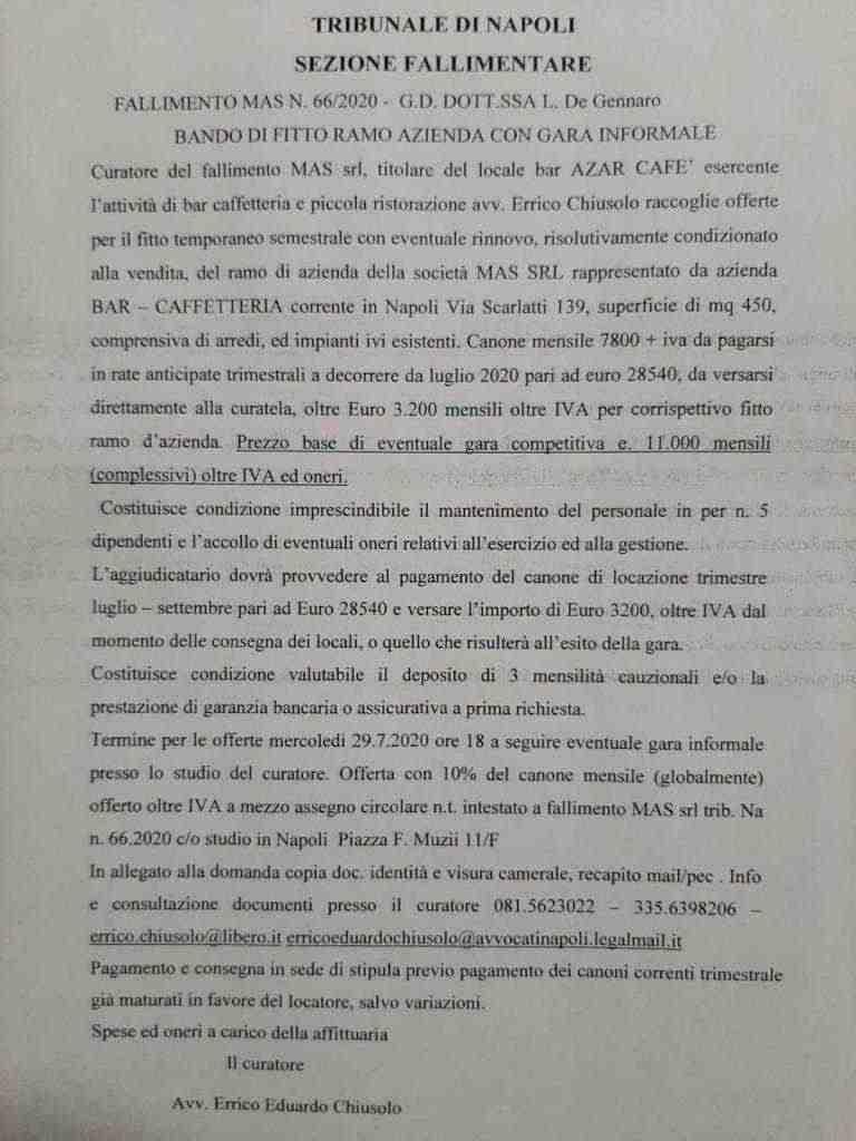 ramo di azienda Bar Vomero Via Scarlatti