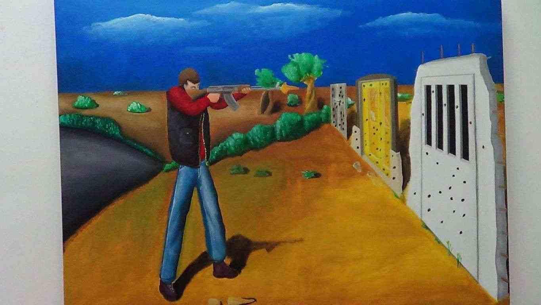 Poligono- quadro a olio su tela-De Carolis.