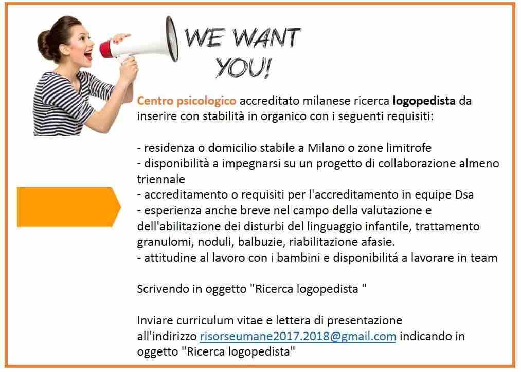 Centro Psicologico Milanese Accreditato cerca logopedista
