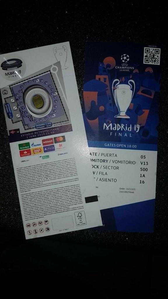 2 ticket finale Champions League 2019 Madrid Wanda Metropolitano