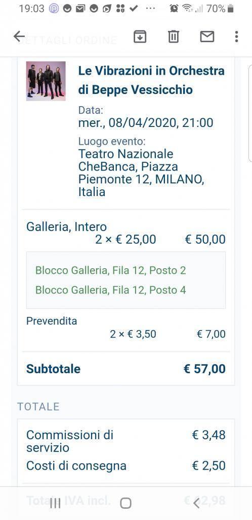 Vendo 2 biglietti Le Vibrazioni a Milano