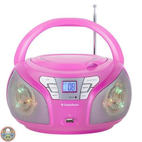 RADIO STEREO LUCE LED ROSA-BLU