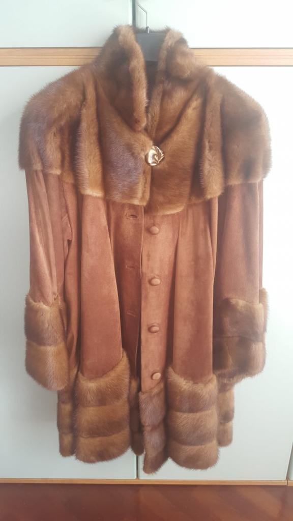 Cappotto in camoscio e visone