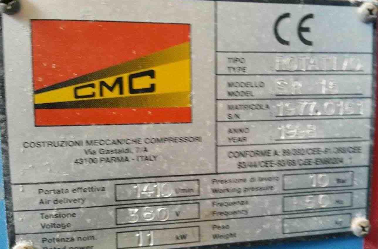 COMPRESSORE PROFESSIONALE AD ARIA SILENZIATO A VITE MARCA CMC Mod.SR-15 COn SERBATOIO OCCASIONISSIMA