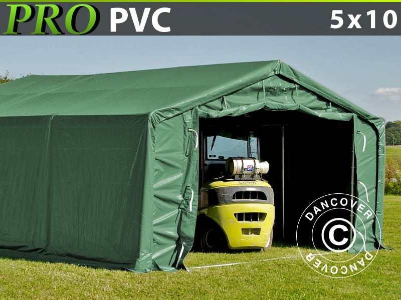 Capannone tenda PRO 5x10x2x2,9m, PVC, Verde