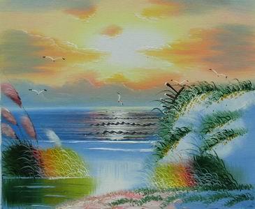 Gabbiani al tramonto olio su tela