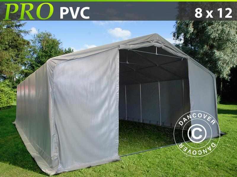 Capannone tenda PRO 8x12x4,4m PVC, Grigio