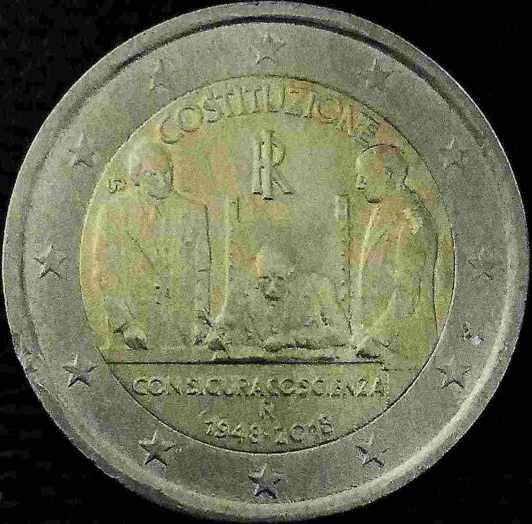 """2 euro &quotAnniversario della Costituzione Italiana""""  1948/2018"""