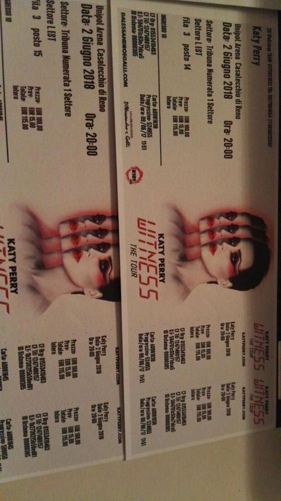 Vendo 2x biglietti Katy Perry - Bologna 02/06