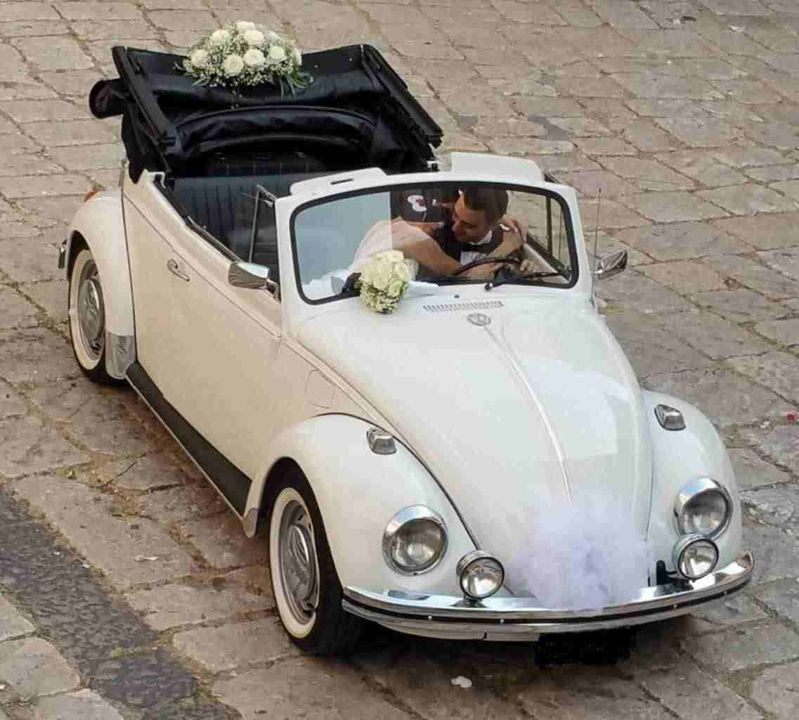 Noleggiol maggiolino maggiolone cabrio bianco per matrimonio Salerno Napoli avellino Casrta Benevent