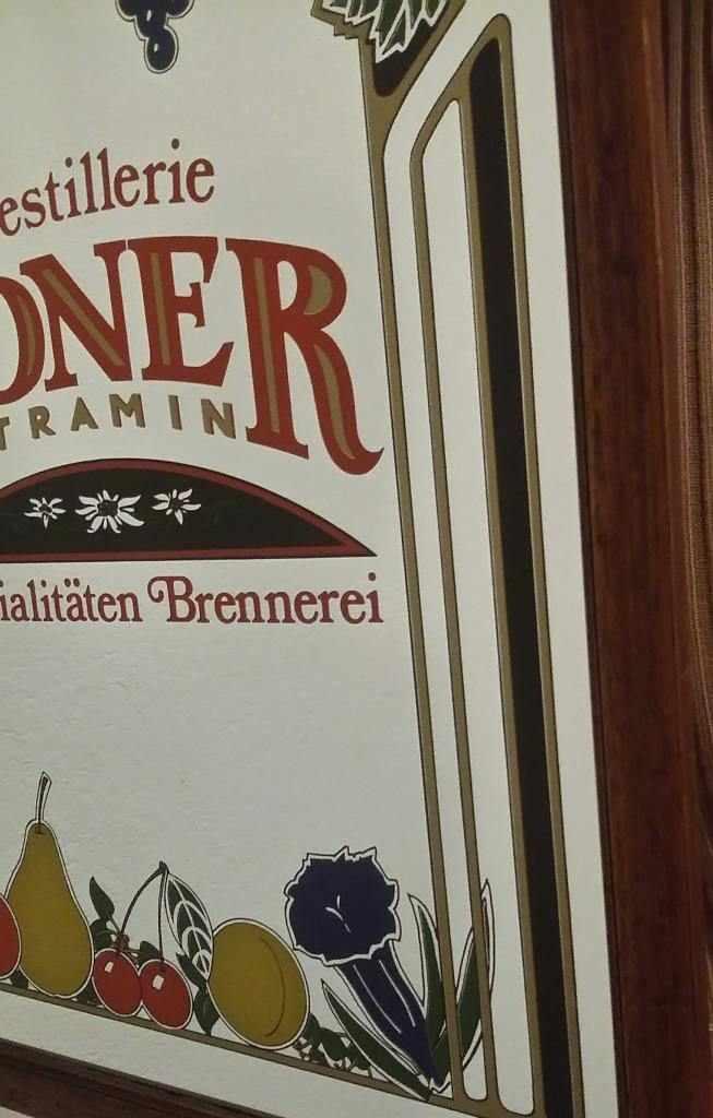 Quadro specchio pubblicitario Destillerie Roner Tramin Spezialitaten