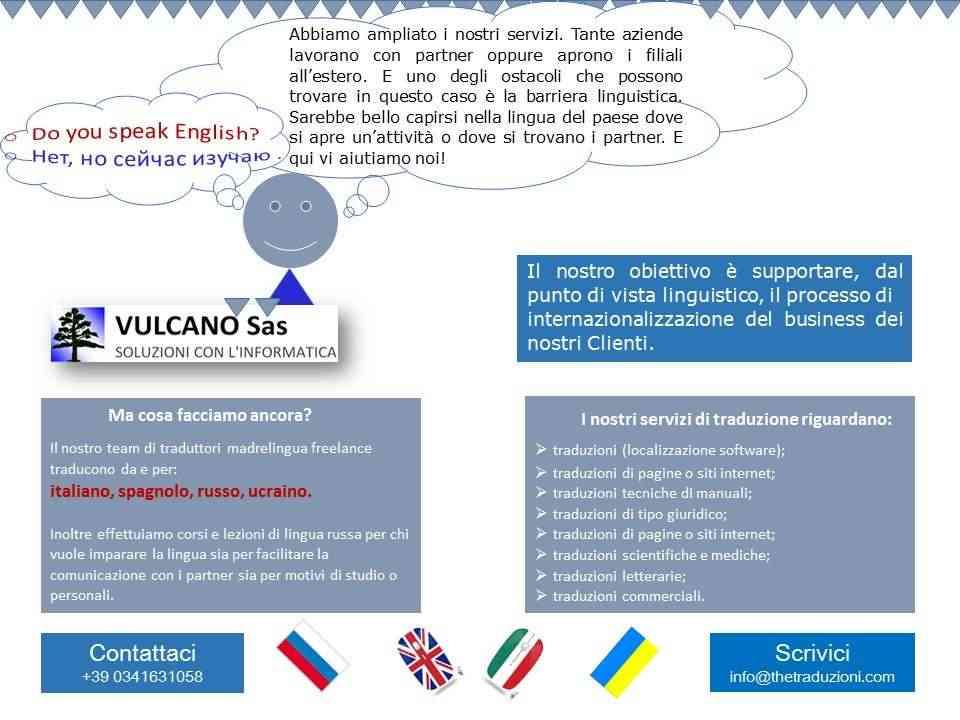 Traduzioni russo, ucraino, spagnolo, inglese