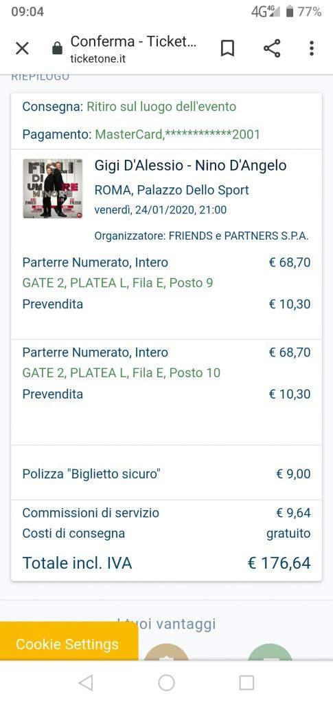 N. 2 BIGLIETTI x GIGI D'ALESSIO e NINO D'ANGELO - Roma 24/01/2020