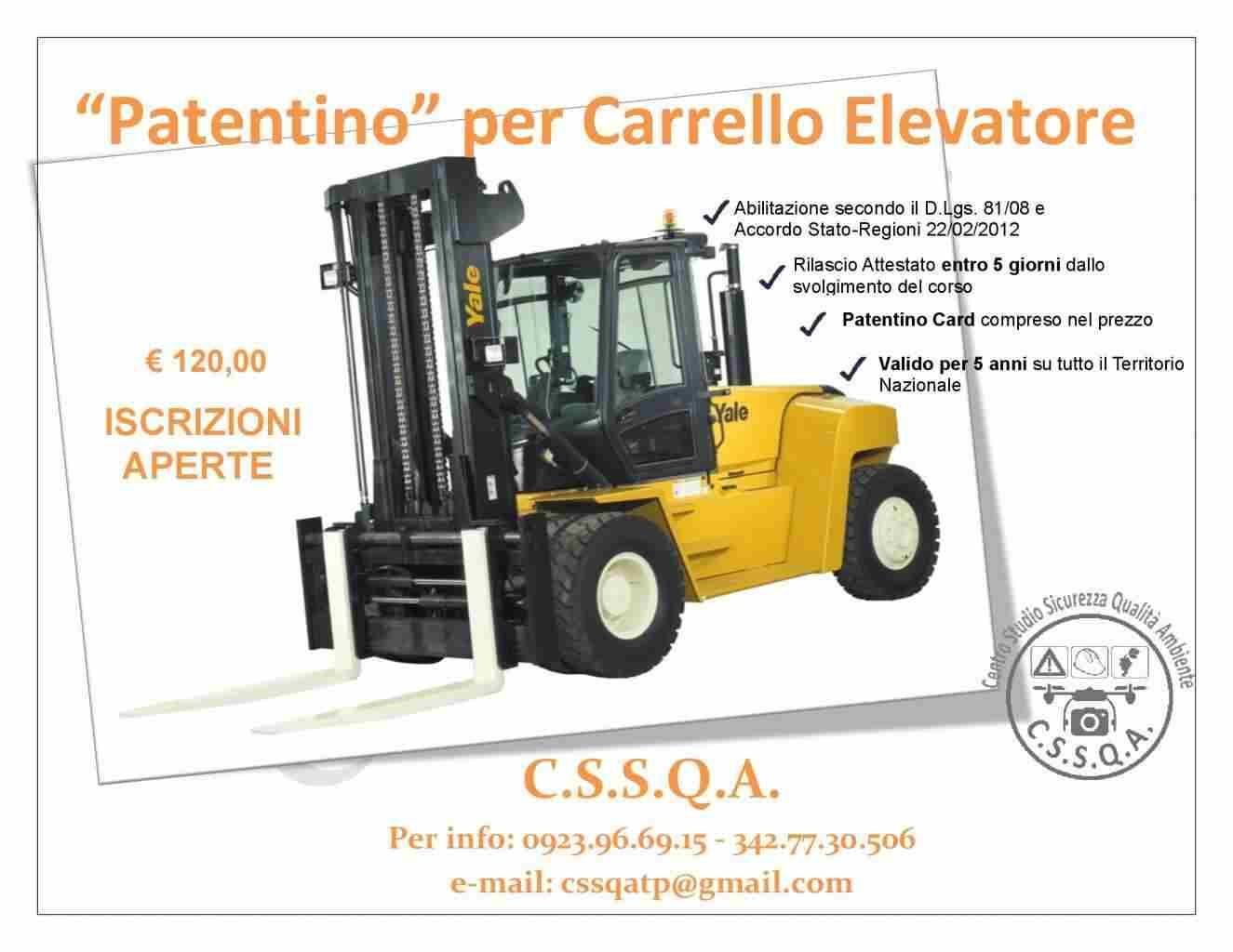 PATENTINO CARRELLO ELEVATORE/MULETTO