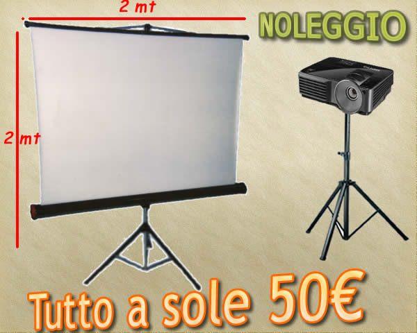 Noleggio videoproettore + telo 2mt x 2mt e aste a sole 50€