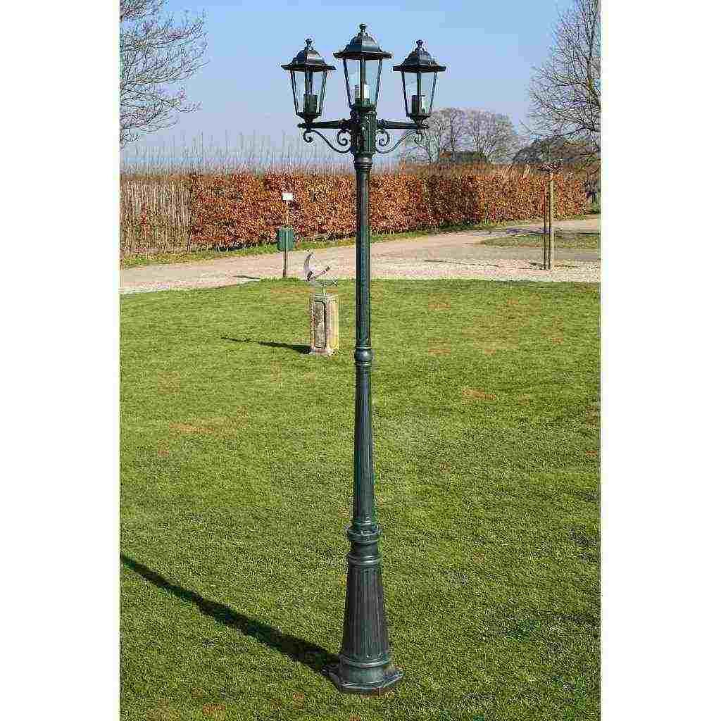 Lampione con 3 Lanterne per Giardino Vialetto Luce Lampada da Esterno